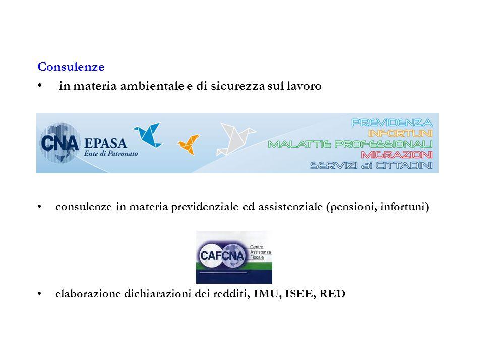 Consulenze in materia ambientale e di sicurezza sul lavoro consulenze in materia previdenziale ed assistenziale (pensioni, infortuni) elaborazione dic