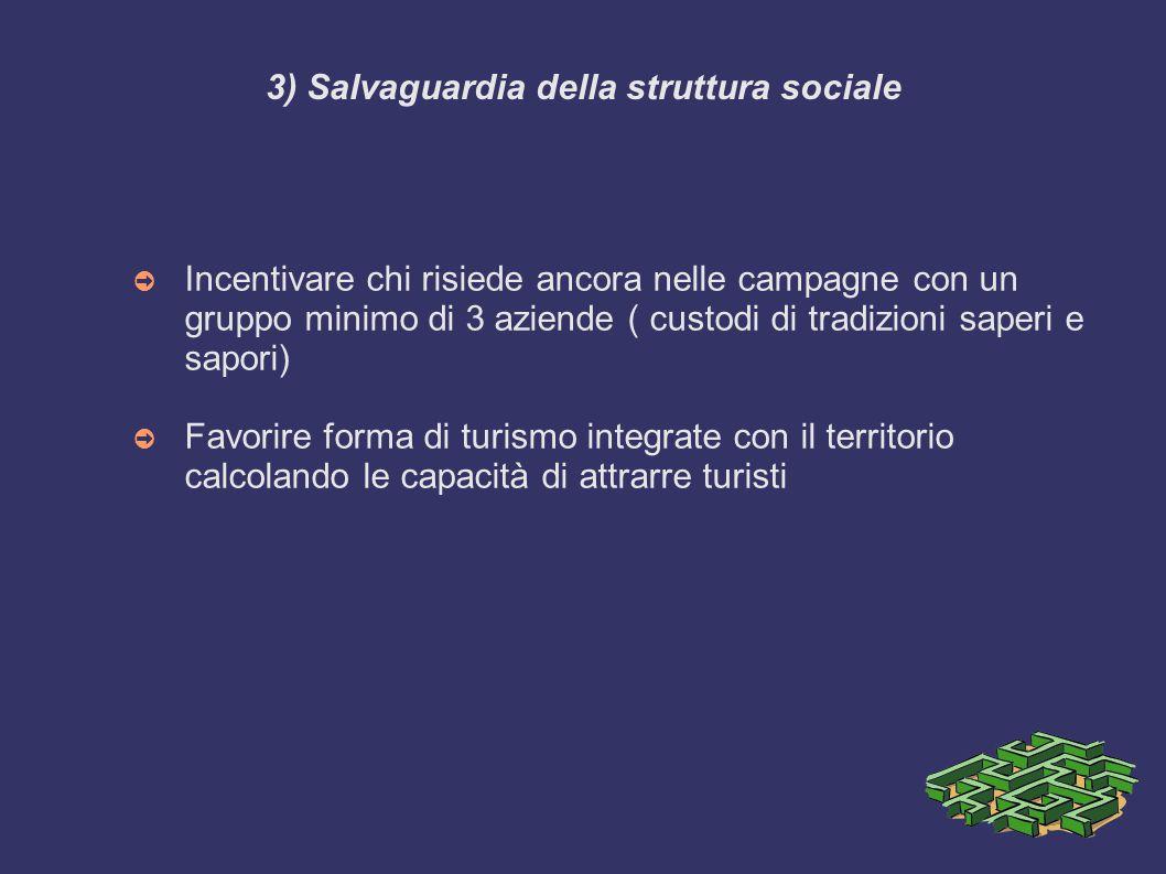3) Salvaguardia della struttura sociale ➲ Incentivare chi risiede ancora nelle campagne con un gruppo minimo di 3 aziende ( custodi di tradizioni sape