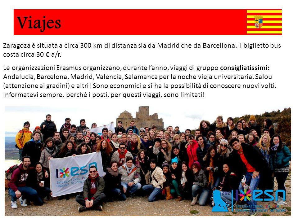 Zaragoza è situata a circa 300 km di distanza sia da Madrid che da Barcellona. Il biglietto bus costa circa 30 € a/r. Le organizzazioni Erasmus organi