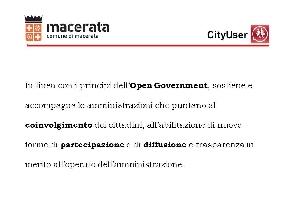 CityUser In linea con i principi dell' Open Government, sostiene e accompagna le amministrazioni che puntano al coinvolgimento dei cittadini, all'abilitazione di nuove forme di partecipazione e di diffusione e trasparenza in merito all'operato dell'amministrazione.