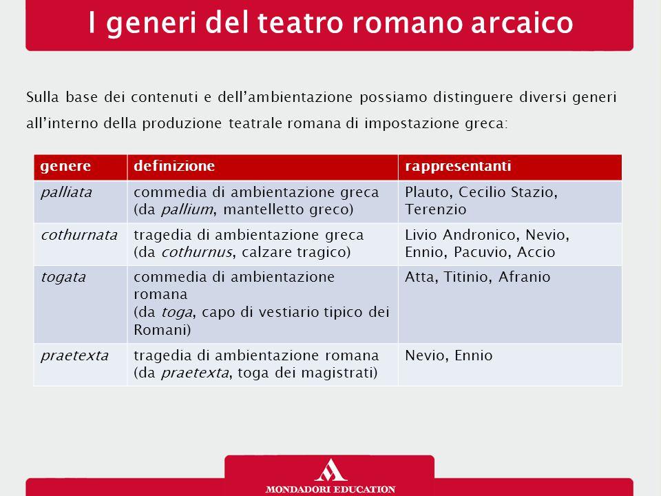 I generi del teatro romano arcaico Sulla base dei contenuti e dell'ambientazione possiamo distinguere diversi generi all'interno della produzione teat
