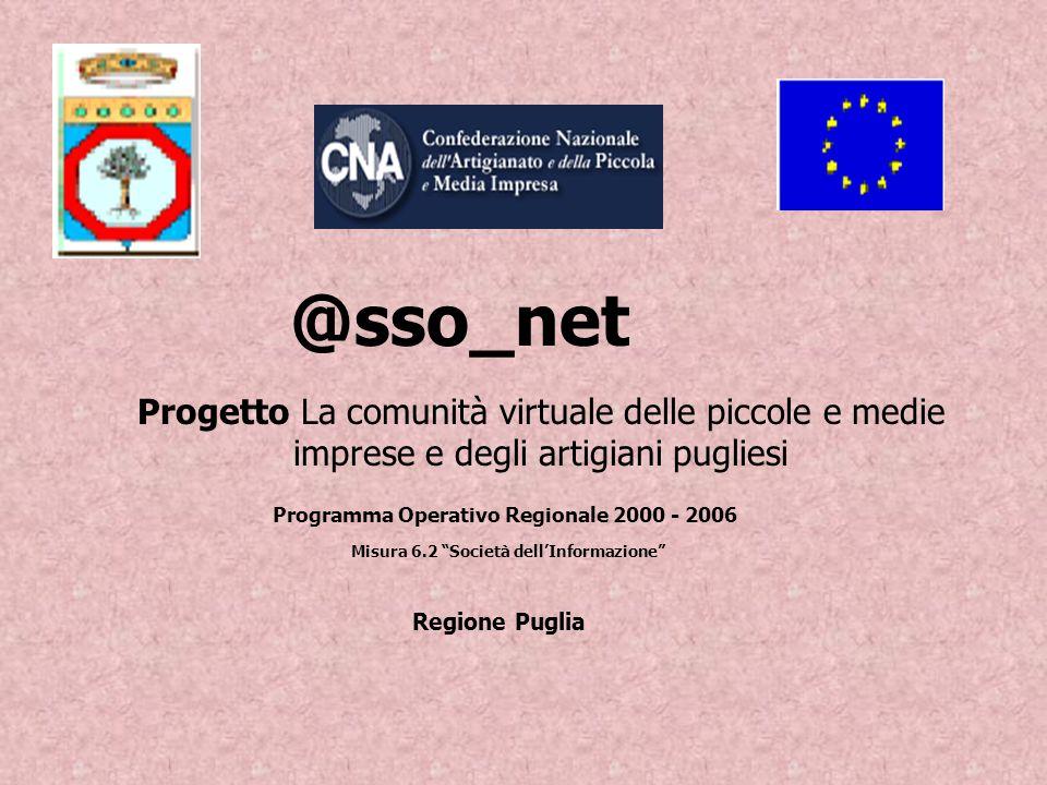 Progetto La comunità virtuale delle piccole e medie imprese e degli artigiani pugliesi Programma Operativo Regionale 2000 - 2006 Regione Puglia @sso_net Misura 6.2 Società dell'Informazione