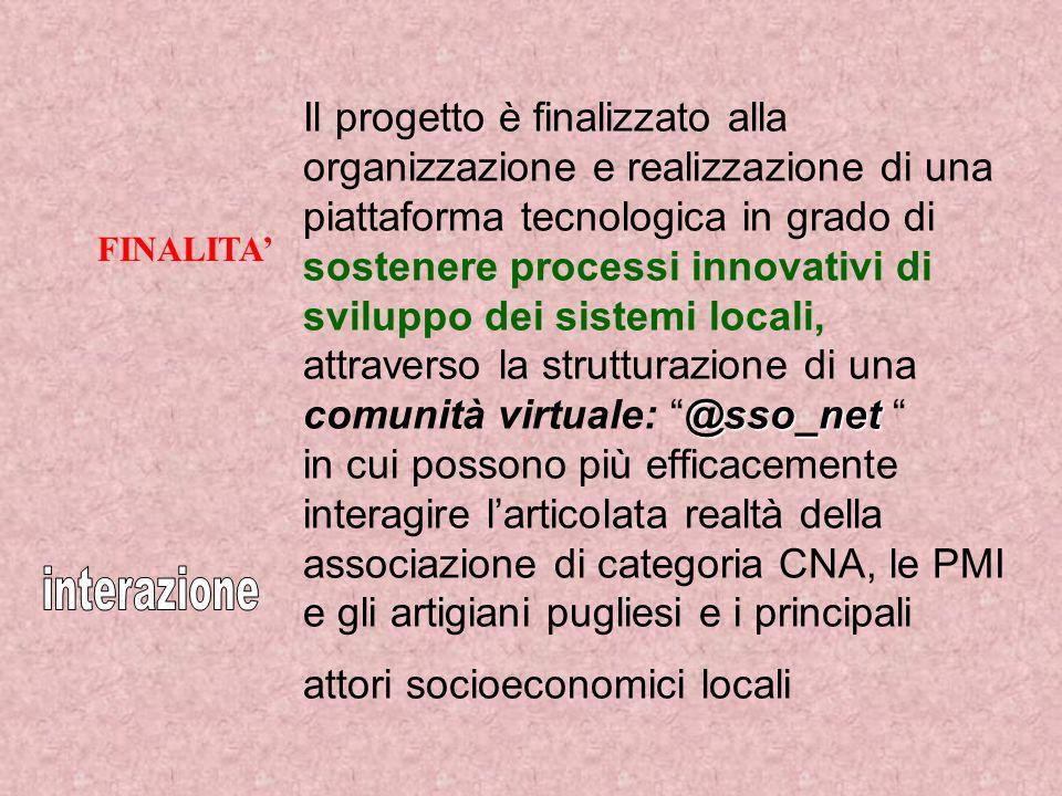 @sso_net Il progetto è finalizzato alla organizzazione e realizzazione di una piattaforma tecnologica in grado di sostenere processi innovativi di sviluppo dei sistemi locali, attraverso la strutturazione di una comunità virtuale: @sso_net in cui possono più efficacemente interagire l'articolata realtà della associazione di categoria CNA, le PMI e gli artigiani pugliesi e i principali attori socioeconomici locali FINALITA'