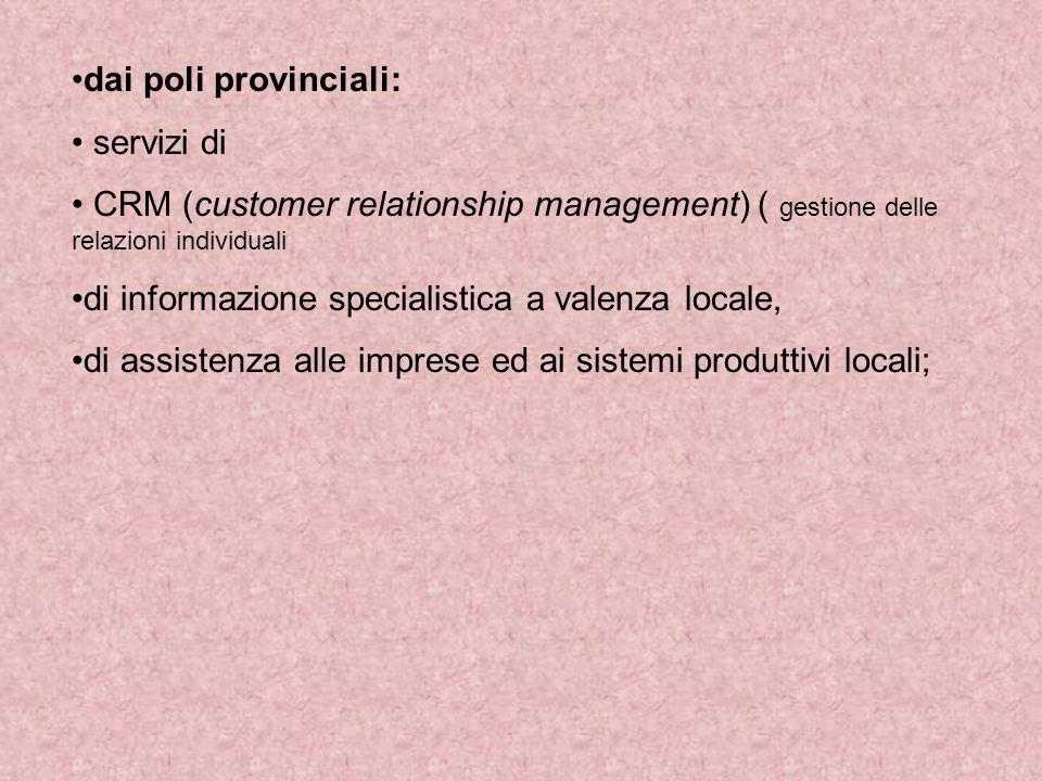 dai poli provinciali: servizi di CRM (customer relationship management) ( gestione delle relazioni individuali di informazione specialistica a valenza locale, di assistenza alle imprese ed ai sistemi produttivi locali;