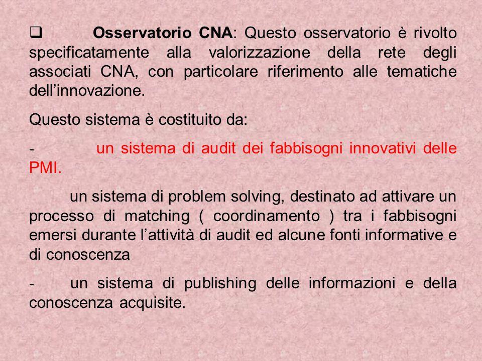  Osservatorio CNA: Questo osservatorio è rivolto specificatamente alla valorizzazione della rete degli associati CNA, con particolare riferimento alle tematiche dell'innovazione.