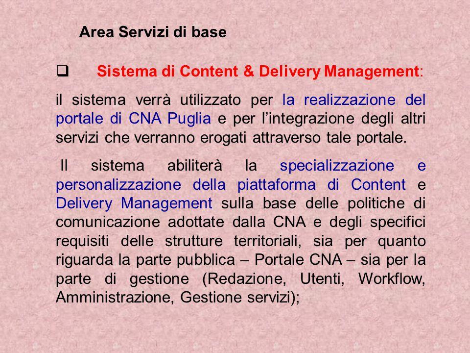  Sistema di Content & Delivery Management: il sistema verrà utilizzato per la realizzazione del portale di CNA Puglia e per l'integrazione degli altri servizi che verranno erogati attraverso tale portale.
