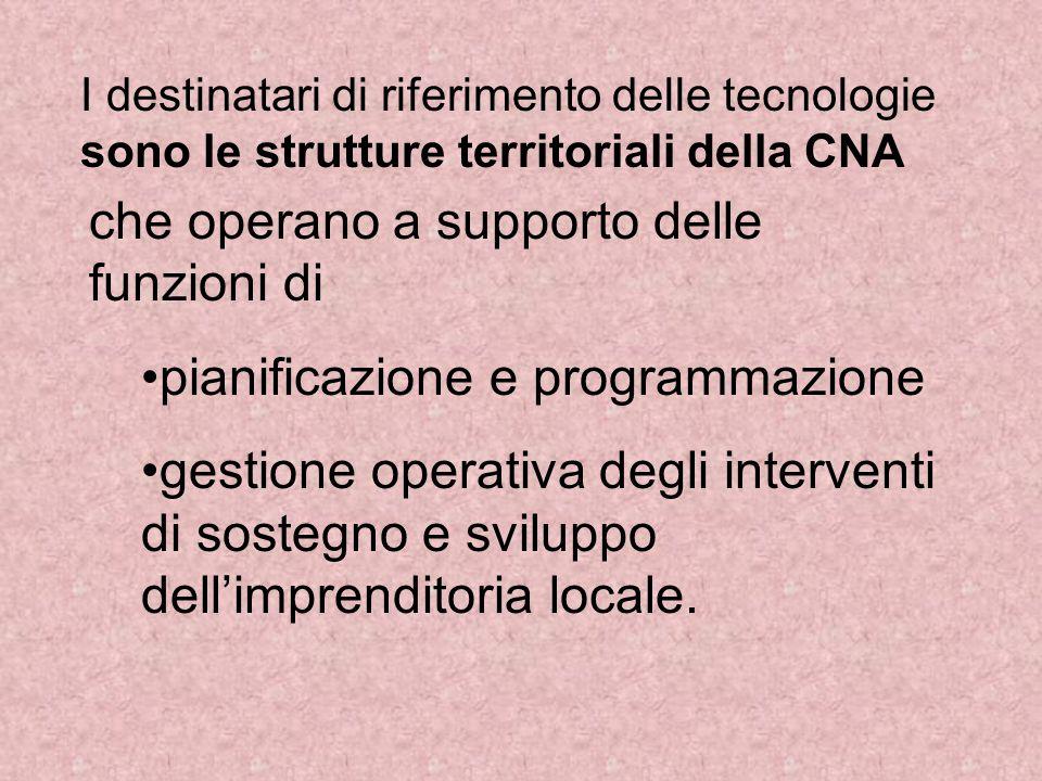 I destinatari di riferimento delle tecnologie sono le strutture territoriali della CNA che operano a supporto delle funzioni di pianificazione e programmazione gestione operativa degli interventi di sostegno e sviluppo dell'imprenditoria locale.