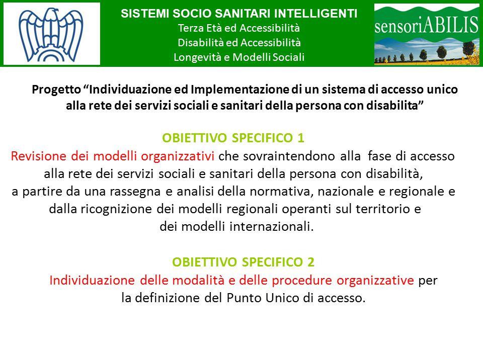 SISTEMI SOCIO SANITARI INTELLIGENTI Terza Età ed Accessibilità Disabilità ed Accessibilità Longevità e Modelli Sociali OBIETTIVO SPECIFICO 1 Revisione