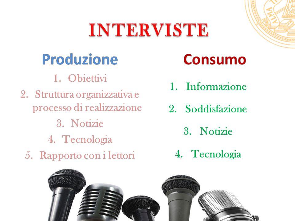 1.Obiettivi 2.Struttura organizzativa e processo di realizzazione 3.Notizie 4.Tecnologia 5.Rapporto con i lettori 1.Informazione 2.Soddisfazione 3.Notizie 4.Tecnologia