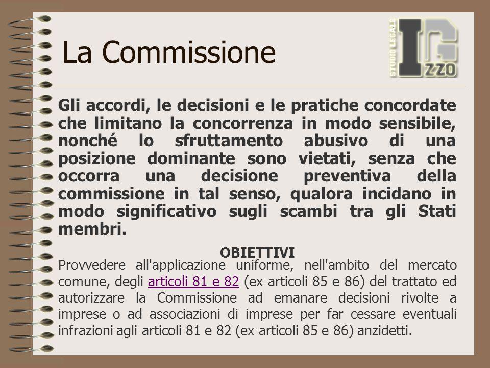 La Commissione Gli accordi, le decisioni e le pratiche concordate che limitano la concorrenza in modo sensibile, nonché lo sfruttamento abusivo di una