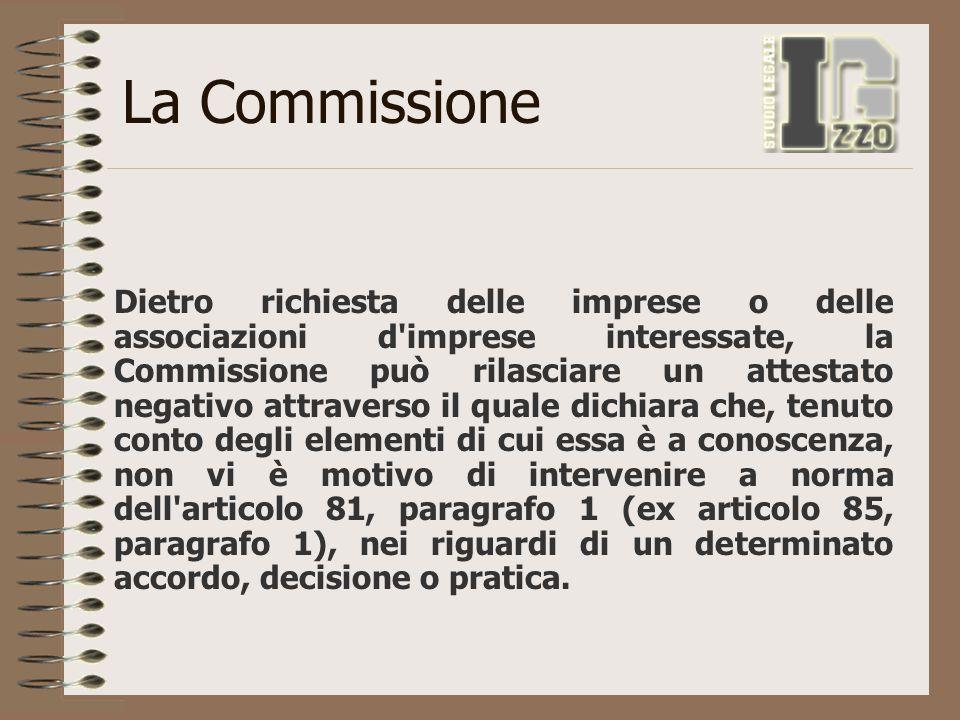 La Commissione Dietro richiesta delle imprese o delle associazioni d'imprese interessate, la Commissione può rilasciare un attestato negativo attraver