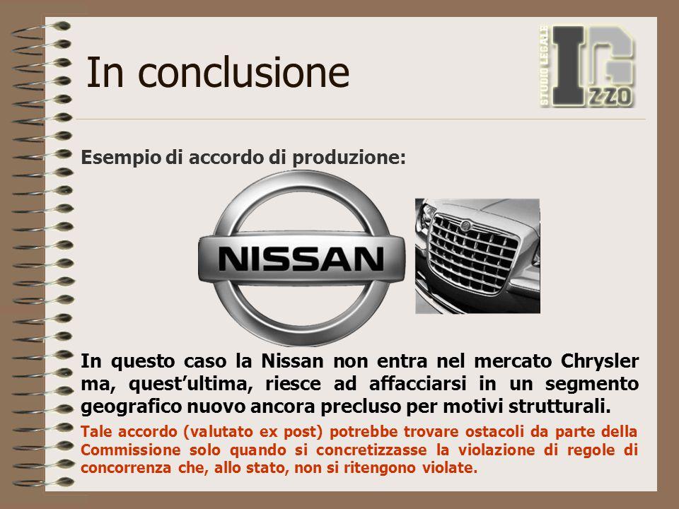 In conclusione Esempio di accordo di produzione: In questo caso la Nissan non entra nel mercato Chrysler ma, quest'ultima, riesce ad affacciarsi in un