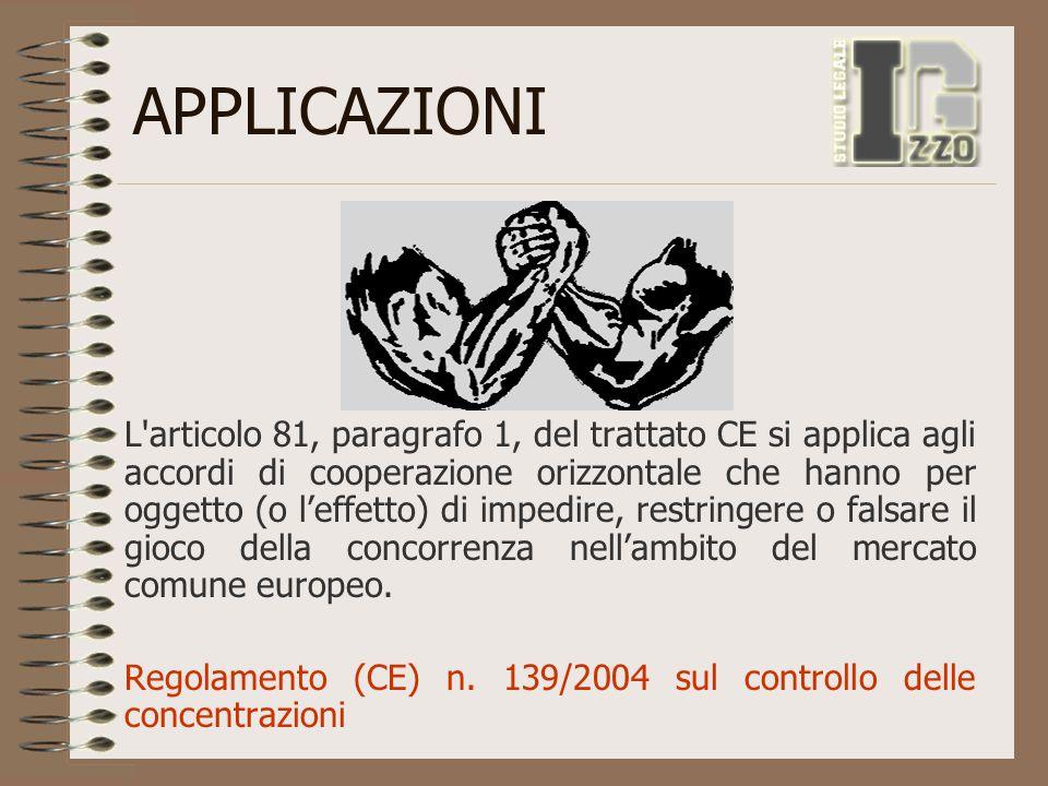 APPLICAZIONI L'articolo 81, paragrafo 1, del trattato CE si applica agli accordi di cooperazione orizzontale che hanno per oggetto (o l'effetto) di im
