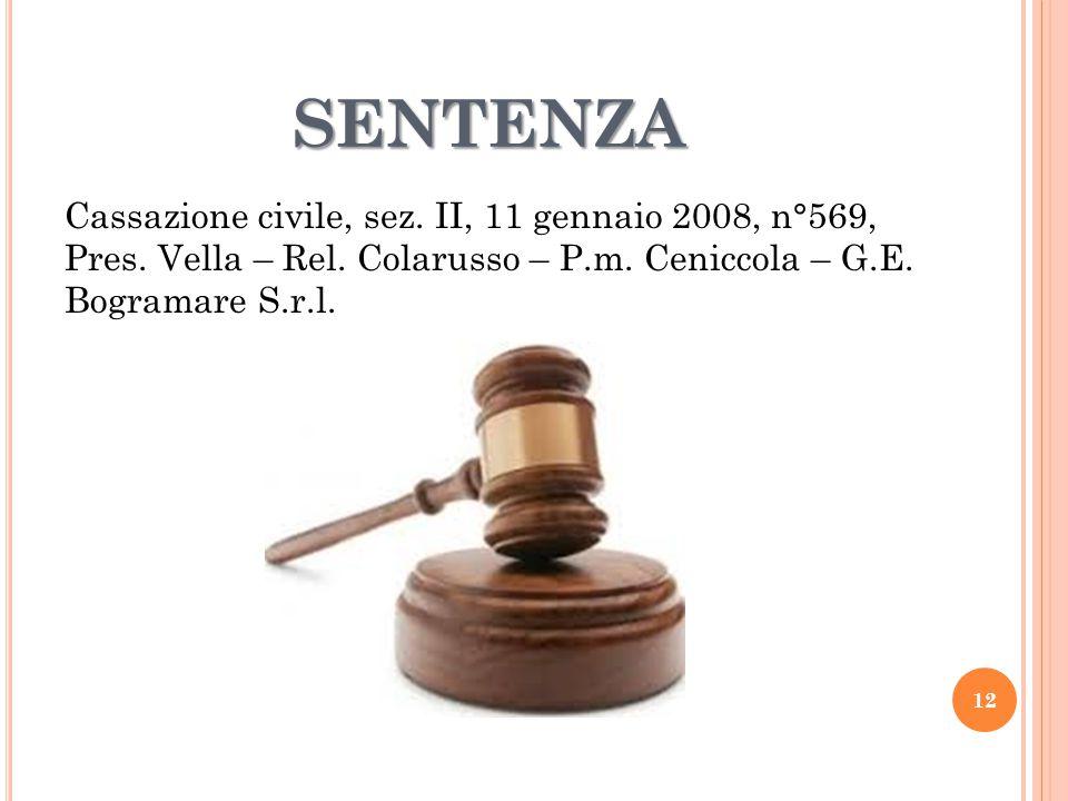 SENTENZA Cassazione civile, sez. II, 11 gennaio 2008, n°569, Pres. Vella – Rel. Colarusso – P.m. Ceniccola – G.E. Bogramare S.r.l. 12