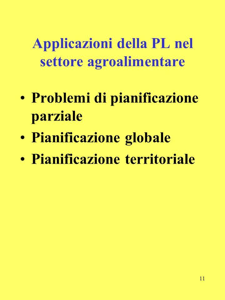11 Applicazioni della PL nel settore agroalimentare Problemi di pianificazione parziale Pianificazione globale Pianificazione territoriale