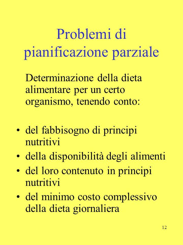 12 Problemi di pianificazione parziale Determinazione della dieta alimentare per un certo organismo, tenendo conto: del fabbisogno di principi nutriti