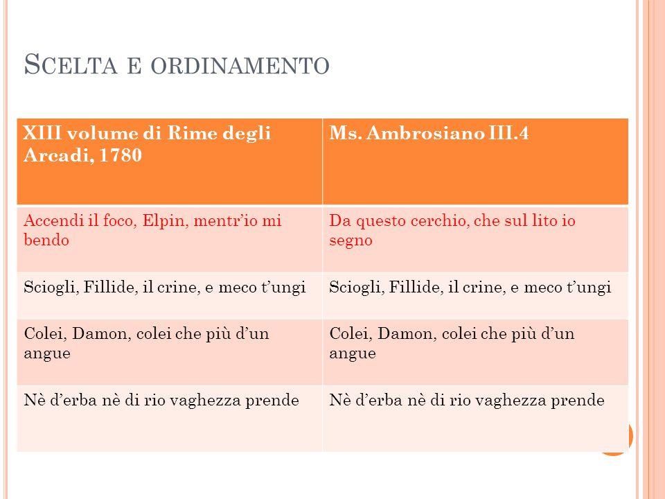 S CELTA E ORDINAMENTO XIII volume di Rime degli Arcadi, 1780 Ms. Ambrosiano III.4 Accendi il foco, Elpin, mentr'io mi bendo Da questo cerchio, che sul