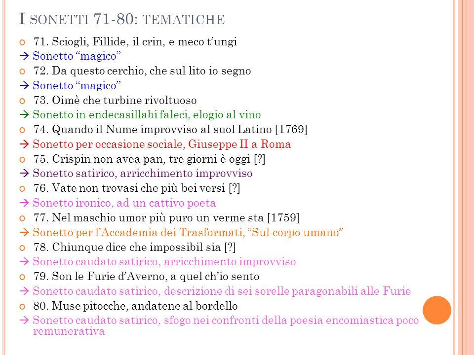 """I SONETTI 71-80: TEMATICHE 71. Sciogli, Fillide, il crin, e meco t'ungi  Sonetto """"magico"""" 72. Da questo cerchio, che sul lito io segno  Sonetto """"mag"""