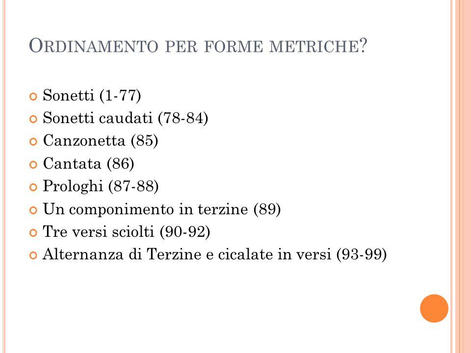 O RDINAMENTO PER FORME METRICHE ? Sonetti (1-77) Sonetti caudati (78-84) Canzonetta (85) Cantata (86) Prologhi (87-88) Un componimento in terzine (89)