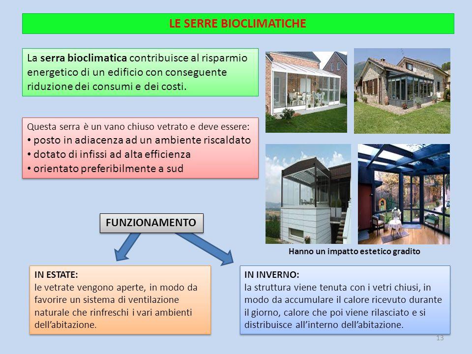 LE SERRE BIOCLIMATICHE La serra bioclimatica contribuisce al risparmio energetico di un edificio con conseguente riduzione dei consumi e dei costi. IN