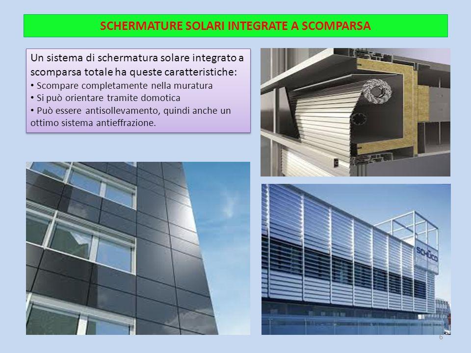 SCHERMATURE SOLARI INTEGRATE A SCOMPARSA Un sistema di schermatura solare integrato a scomparsa totale ha queste caratteristiche: Scompare completamen