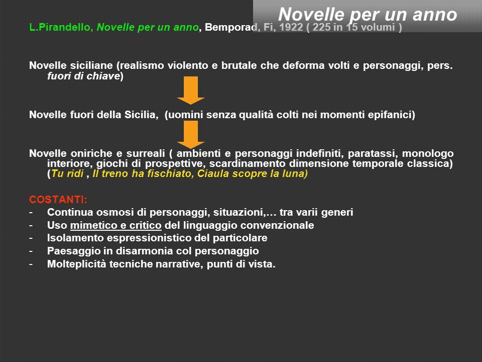 L.Pirandello, Novelle per un anno, Bemporad, Fi, 1922 ( 225 in 15 volumi ) Novelle siciliane (realismo violento e brutale che deforma volti e personaggi, pers.