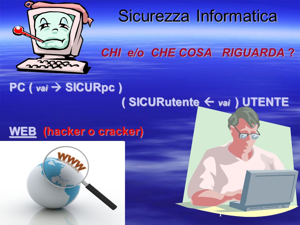 1 Sicurezza Informatica CHI e/o CHE COSA RIGUARDA .