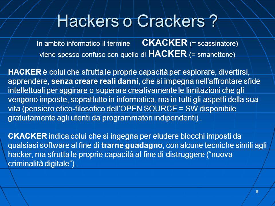 8 In ambito informatico il termine CKACKER (= scassinatore) viene spesso confuso con quello di HACKER (= smanettone) HACKER è colui che sfrutta le proprie capacità per esplorare, divertirsi, apprendere, senza creare reali danni, che si impegna nell affrontare sfide intellettuali per aggirare o superare creativamente le limitazioni che gli vengono imposte, soprattutto in informatica, ma in tutti gli aspetti della sua vita (pensiero etico-filosofico dell'OPEN SOURCE = SW disponibile gratuitamente agli utenti da programmatori indipendenti).