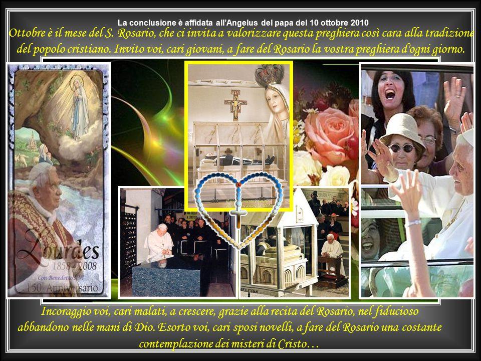 """Dal libro """"Prega e sarai felice"""" di S.E. Card. Angelo COMASTRI – Ediz. San Paolo 2006 Madre Teresa di Calcutta, alzando la mano con la corona del Rosa"""