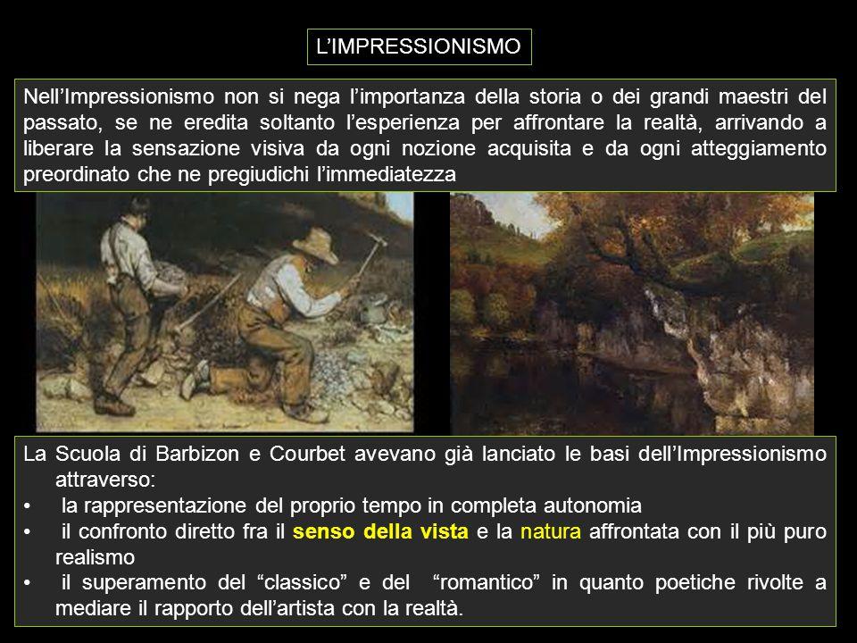 La Scuola di Barbizon e Courbet avevano già lanciato le basi dell'Impressionismo attraverso: la rappresentazione del proprio tempo in completa autonom