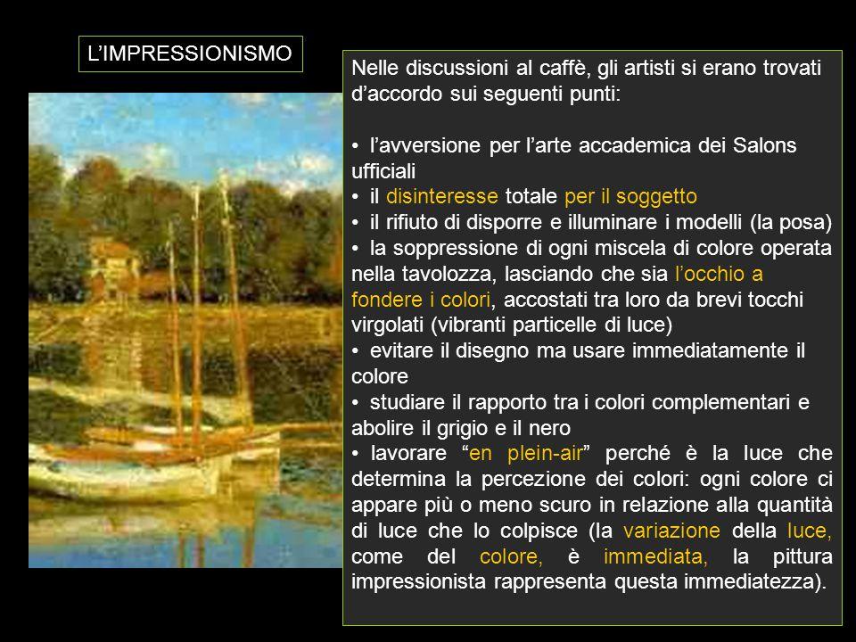 L'IMPRESSIONISMO Nelle discussioni al caffè, gli artisti si erano trovati d'accordo sui seguenti punti: l'avversione per l'arte accademica dei Salons