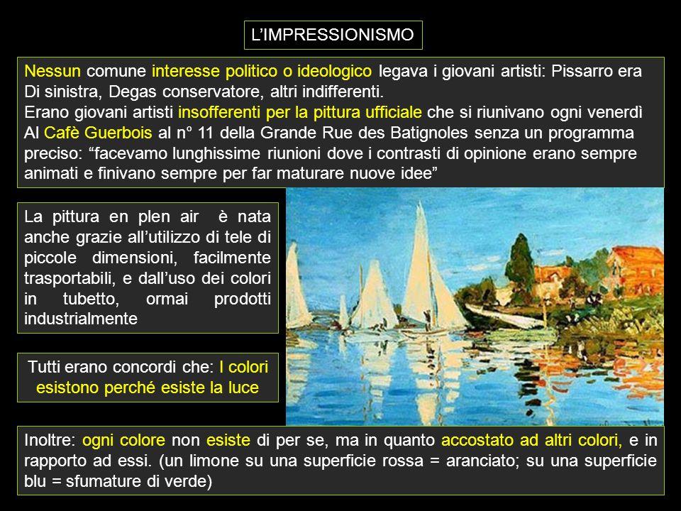 L'IMPRESSIONISMO Nessun comune interesse politico o ideologico legava i giovani artisti: Pissarro era Di sinistra, Degas conservatore, altri indiffere