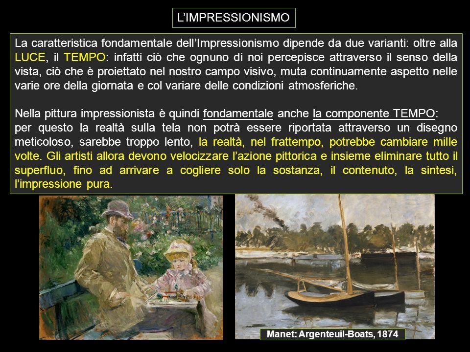 L'IMPRESSIONISMO Manet: Argenteuil-Boats, 1874 La caratteristica fondamentale dell'Impressionismo dipende da due varianti: oltre alla LUCE, il TEMPO: