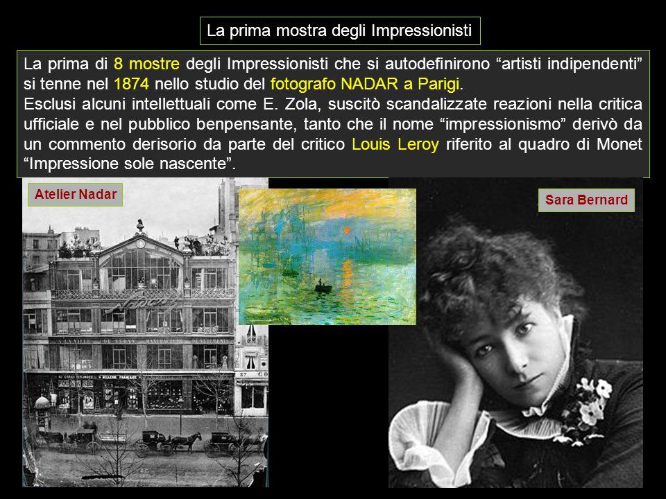 """La prima di 8 mostre degli Impressionisti che si autodefinirono """"artisti indipendenti"""" si tenne nel 1874 nello studio del fotografo NADAR a Parigi. Es"""