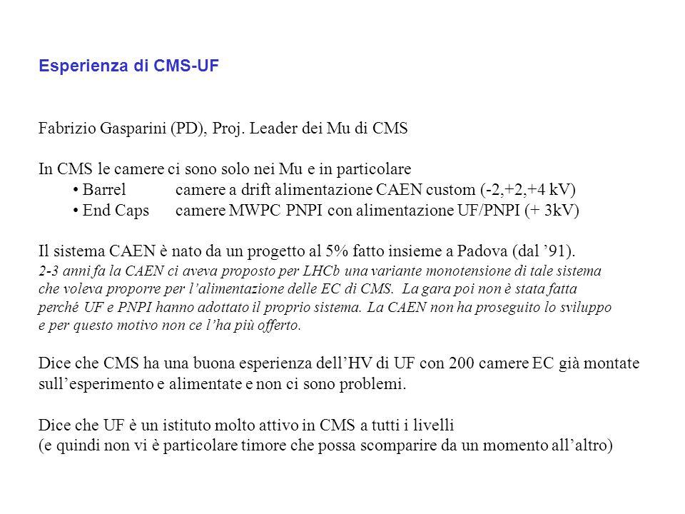 Esperienza di CMS-UF Fabrizio Gasparini (PD), Proj.