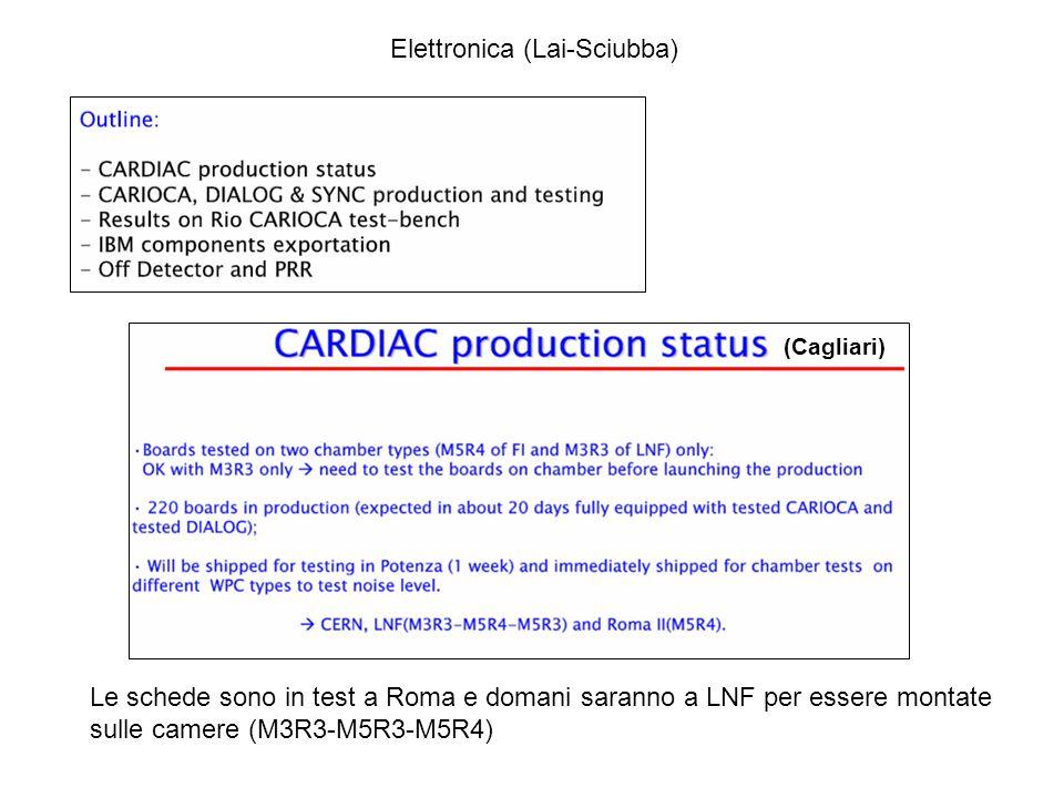 Le schede sono in test a Roma e domani saranno a LNF per essere montate sulle camere (M3R3-M5R3-M5R4) Elettronica (Lai-Sciubba) (Cagliari)