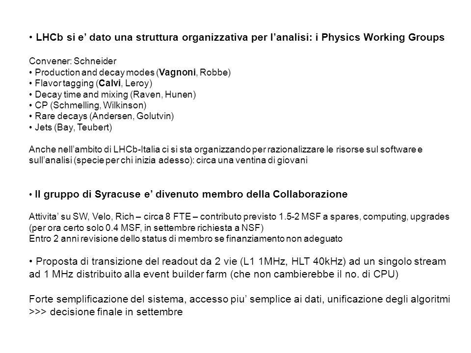 LHCb si e' dato una struttura organizzativa per l'analisi: i Physics Working Groups Convener: Schneider Production and decay modes (Vagnoni, Robbe) Flavor tagging (Calvi, Leroy) Decay time and mixing (Raven, Hunen) CP (Schmelling, Wilkinson) Rare decays (Andersen, Golutvin) Jets (Bay, Teubert) Anche nell'ambito di LHCb-Italia ci si sta organizzando per razionalizzare le risorse sul software e sull'analisi (specie per chi inizia adesso): circa una ventina di giovani Il gruppo di Syracuse e' divenuto membro della Collaborazione Attivita' su SW, Velo, Rich – circa 8 FTE – contributo previsto 1.5-2 MSF a spares, computing, upgrades (per ora certo solo 0.4 MSF, in settembre richiesta a NSF) Entro 2 anni revisione dello status di membro se finanziamento non adeguato Proposta di transizione del readout da 2 vie (L1 1MHz, HLT 40kHz) ad un singolo stream ad 1 MHz distribuito alla event builder farm (che non cambierebbe il no.