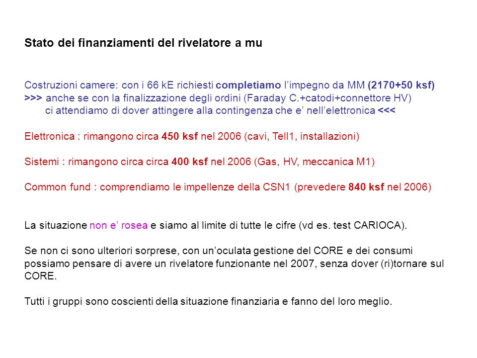 Stato dei finanziamenti del rivelatore a mu Costruzioni camere: con i 66 kE richiesti completiamo l'impegno da MM (2170+50 ksf) >>> anche se con la finalizzazione degli ordini (Faraday C.+catodi+connettore HV) ci attendiamo di dover attingere alla contingenza che e' nell'elettronica <<< Elettronica : rimangono circa 450 ksf nel 2006 (cavi, Tell1, installazioni) Sistemi : rimangono circa circa 400 ksf nel 2006 (Gas, HV, meccanica M1) Common fund : comprendiamo le impellenze della CSN1 (prevedere 840 ksf nel 2006) La situazione non e' rosea e siamo al limite di tutte le cifre (vd es.