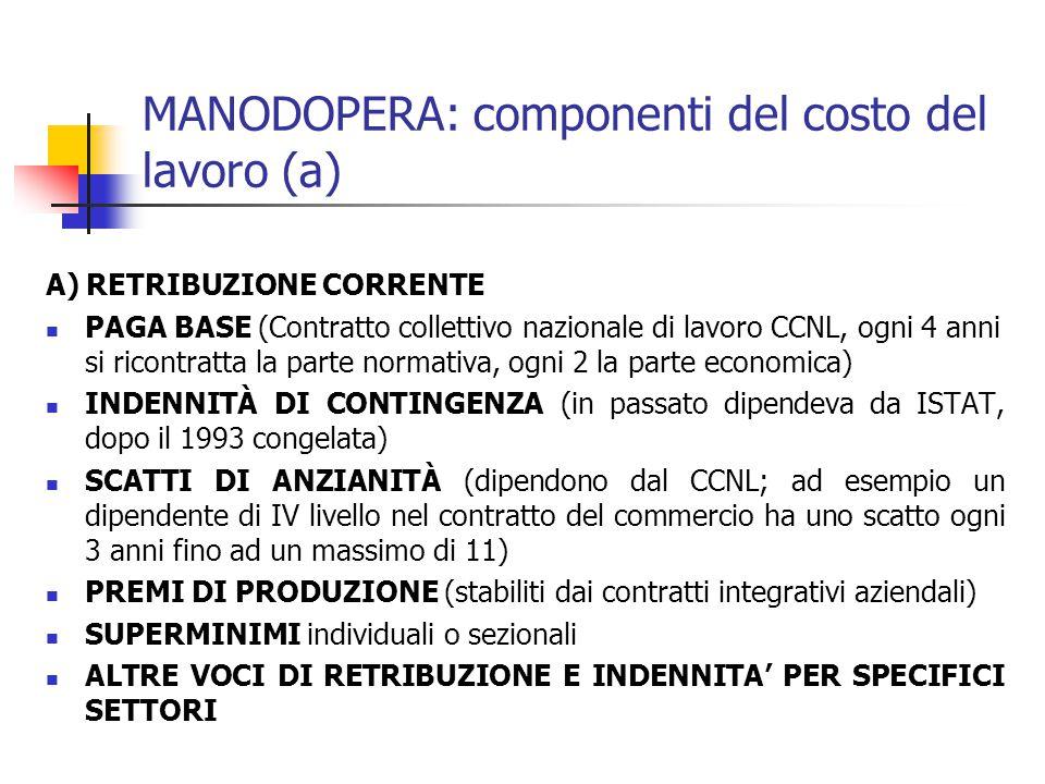 MANODOPERA: componenti del costo del lavoro (a) A) RETRIBUZIONE CORRENTE PAGA BASE (Contratto collettivo nazionale di lavoro CCNL, ogni 4 anni si ricontratta la parte normativa, ogni 2 la parte economica) INDENNITÀ DI CONTINGENZA (in passato dipendeva da ISTAT, dopo il 1993 congelata) SCATTI DI ANZIANITÀ (dipendono dal CCNL; ad esempio un dipendente di IV livello nel contratto del commercio ha uno scatto ogni 3 anni fino ad un massimo di 11) PREMI DI PRODUZIONE (stabiliti dai contratti integrativi aziendali) SUPERMINIMI individuali o sezionali ALTRE VOCI DI RETRIBUZIONE E INDENNITA' PER SPECIFICI SETTORI