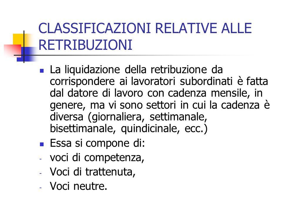 CLASSIFICAZIONE DELLA RETRIBUZIONE IN RELAZIONE ALLA PERIODICITA' DI EROGAZIONE A seconda del momento dell'erogazione della retribuzione si avrà: - retribuzione corrente (relativa al periodo di prestazione dell'opera), - Retribuzione arretrata (relativa a periodi precedenti di prestazione dell'opera), - Retribuzione differita (premi di produzione, tredicesima, quattordicesima, trattamento di fine rapporto-TFR)