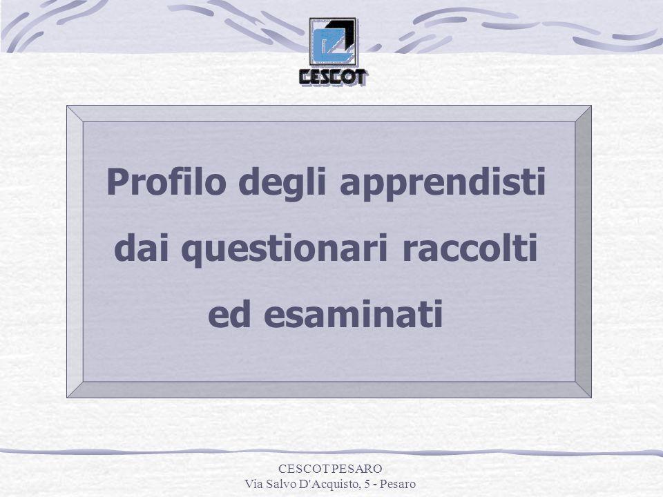 CESCOT PESARO Via Salvo D Acquisto, 5 - Pesaro Profilo degli apprendisti dai questionari raccolti ed esaminati