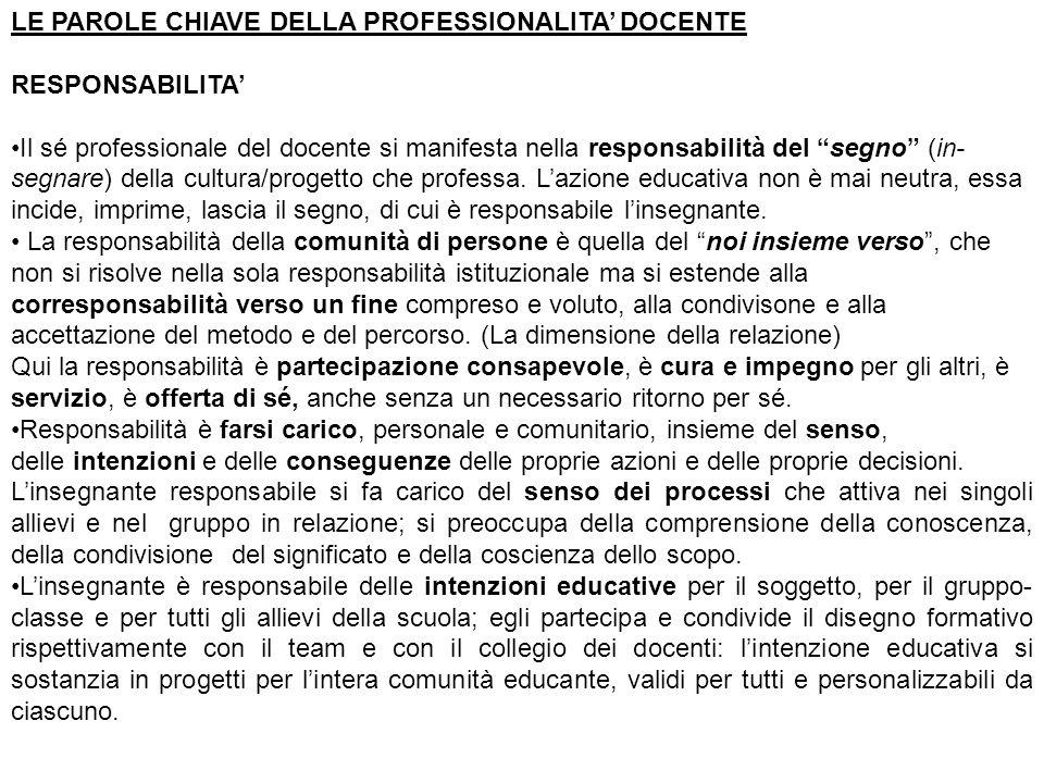 """LE PAROLE CHIAVE DELLA PROFESSIONALITA' DOCENTE RESPONSABILITA' Il sé professionale del docente si manifesta nella responsabilità del """"segno"""" (in- seg"""