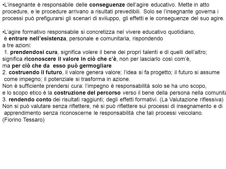 L'insegnante è responsabile delle conseguenze dell'agire educativo. Mette in atto procedure, e le procedure arrivano a risultati prevedibili. Solo se