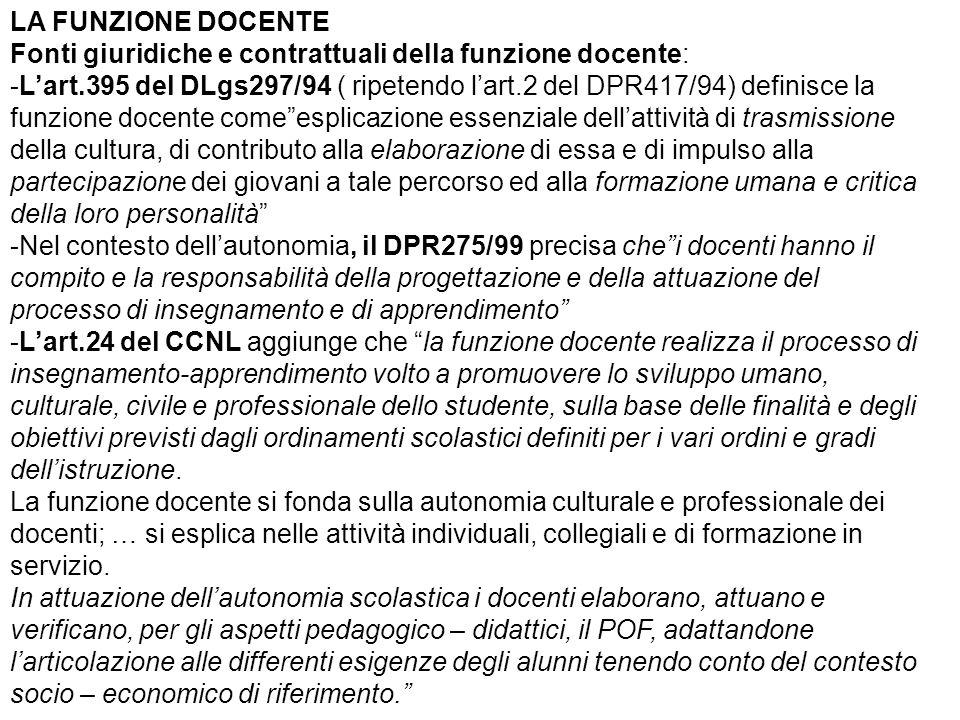 LA FUNZIONE DOCENTE Fonti giuridiche e contrattuali della funzione docente: -L'art.395 del DLgs297/94 ( ripetendo l'art.2 del DPR417/94) definisce la