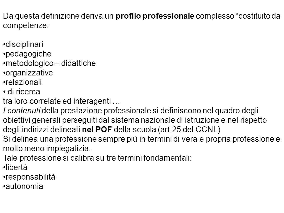 """Da questa definizione deriva un profilo professionale complesso """"costituito da competenze: disciplinari pedagogiche metodologico – didattiche organizz"""