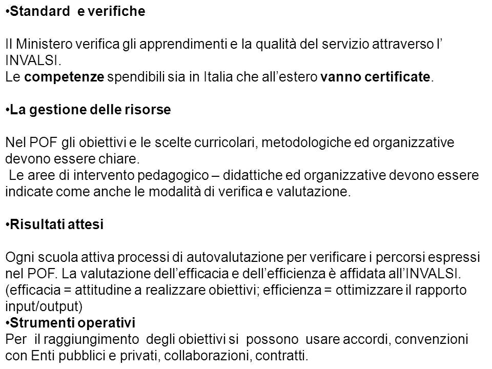 Standard e verifiche Il Ministero verifica gli apprendimenti e la qualità del servizio attraverso l' INVALSI. Le competenze spendibili sia in Italia c