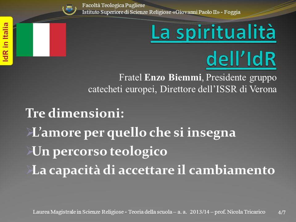 Laurea Magistrale in Scienze Religiose - Teoria della scuola – a. a. 2013/14 – prof. Nicola Tricarico IdR in Italia Facoltà Teologica Pugliese Istitut