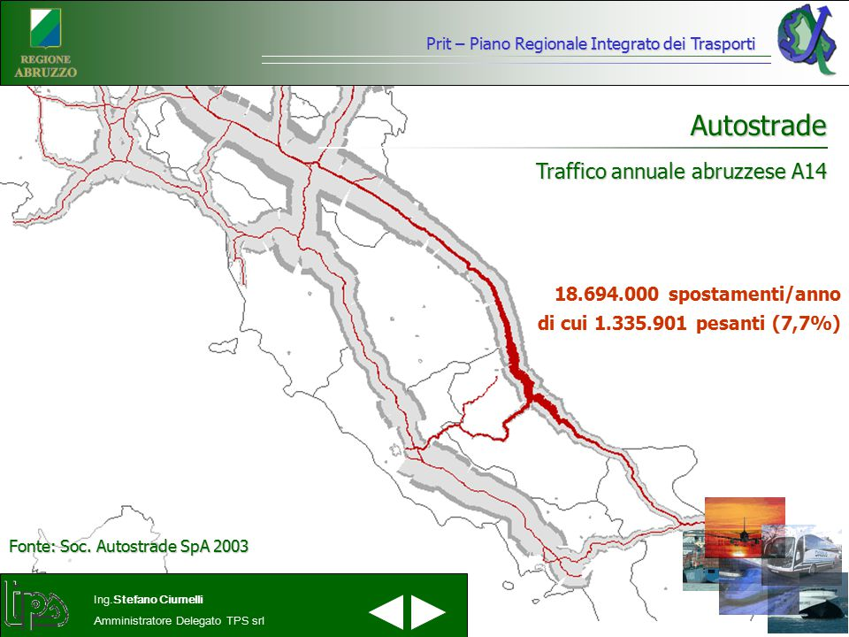 Prit – Piano Regionale Integrato dei Trasporti Ing.Stefano Ciurnelli Amministratore Delegato TPS srl Autostrade Traffico annuale abruzzese A14 18.694.