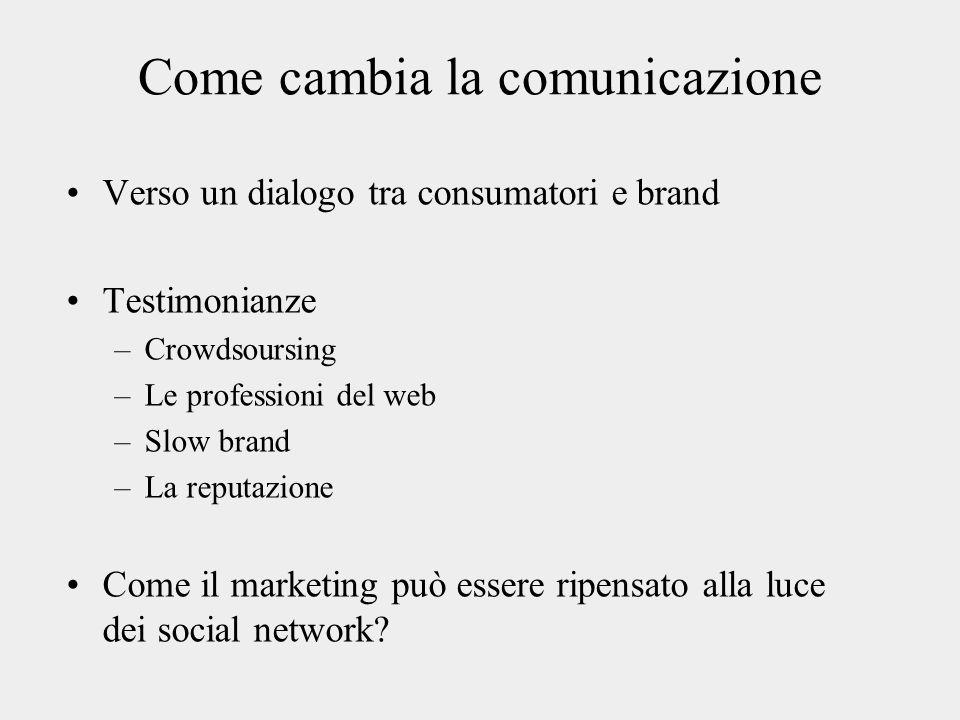 Come cambia la comunicazione Verso un dialogo tra consumatori e brand Testimonianze –Crowdsoursing –Le professioni del web –Slow brand –La reputazione Come il marketing può essere ripensato alla luce dei social network