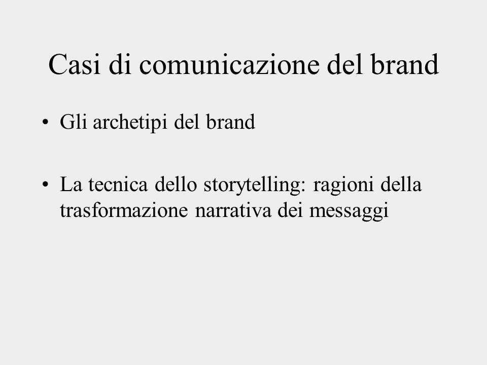 Casi di comunicazione del brand Gli archetipi del brand La tecnica dello storytelling: ragioni della trasformazione narrativa dei messaggi